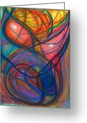Embrace Drawings Greeting Cards - The Pulse of the Heart Lies Strong Greeting Card by Daina White
