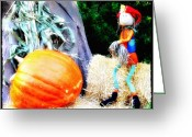 Scare Greeting Cards - the Pumpkin and the Scarecrow Greeting Card by Bill Cannon