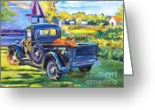 Pickup Painting Greeting Cards - The Pumpkin Pickup Greeting Card by David Lloyd Glover