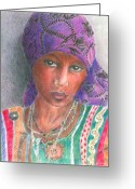Portraits Greeting Cards - The Purple Scarf  Greeting Card by Arline Wagner