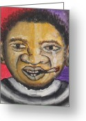 Face Reliefs Greeting Cards - The Puzzled Greeting Card by Nyuyse Damien
