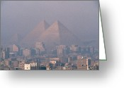 African Heritage Photo Greeting Cards - The Pyramids At Giza And Cairo Greeting Card by Martin Gray
