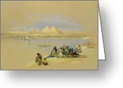 Nile River Greeting Cards - The Pyramids at Giza near Cairo Greeting Card by David Roberts