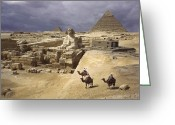 African Heritage Photo Greeting Cards - The Pyramids Of Giza And The Great Greeting Card by B. Anthony Stewart