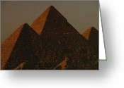 African Heritage Photo Greeting Cards - The Pyramids Of Giza In The Late Greeting Card by Kenneth Garrett