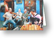 Galway Greeting Cards - The Quay Players Greeting Card by Conor McGuire