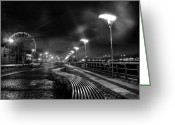 Big Wheel Greeting Cards - The Quays by Night Greeting Card by Patrick Horgan