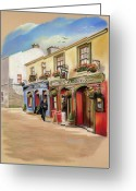 Galway Greeting Cards - The Quays Pub Greeting Card by Vanda Luddy