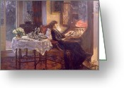 Sat Greeting Cards - The Quiet Hour Greeting Card by Albert Chevallier Tayler