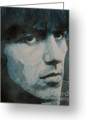 Beatles Painting Greeting Cards - The quiet one Greeting Card by Paul Lovering