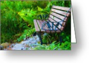 Park Benches Greeting Cards - The Quiet Spot Greeting Card by Kenny Francis