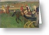 Horserace Greeting Cards - The Race Course Greeting Card by Edgar Degas