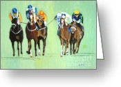 Horses Greeting Cards - The Race is On Greeting Card by Judy Kay