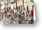 Tour Pastels Greeting Cards - The Race Greeting Card by Stefan Kuhn