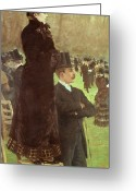 Standing Painting Greeting Cards - The Races at Auteuil Greeting Card by Joseph de Nittis