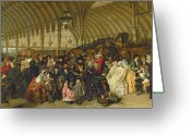 Trains Painting Greeting Cards - The Railway Station Greeting Card by William Powell Frith