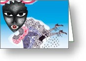 Ethnic Digital Art Greeting Cards - The Rainmaker Greeting Card by Anneli Akinde