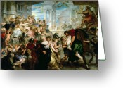 Rubens Painting Greeting Cards - The Rape of the Sabine Women Greeting Card by Peter Paul Rubens