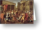 Poussin Greeting Cards - The Rape of the Sabines Greeting Card by Nicolas Poussin