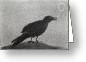 Raven Drawings Greeting Cards - The Raven Greeting Card by Keith Straley