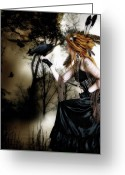 Black Bird Greeting Cards - The Raven Greeting Card by Shanina Conway