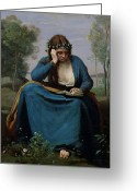 1796 Greeting Cards - The Reader Crowned with Flowers Greeting Card by Jean Baptiste Camille Corot