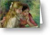 Pierre Auguste (1841-1919) Greeting Cards - The Reading Greeting Card by Pierre Auguste Renoir