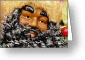 Noel Greeting Cards - The Real Black Santa Greeting Card by Christine Till