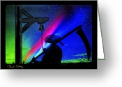 Signed Mixed Media Greeting Cards - The Reaper Greeting Card by Chuck Staley
