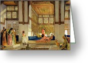 Orientalist Greeting Cards - The Reception Greeting Card by John Frederick Lewis