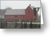 Rockport Ma Greeting Cards - The Red Barn at Rockport MA Greeting Card by Marc Sevigny