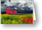 Storm Posters Greeting Cards - The red barn Greeting Card by Gina Signore