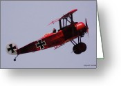 Balloon Fest Greeting Cards - The Red Baron Greeting Card by DigiArt Diaries by Vicky Browning