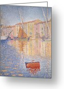 Post-impressionist Greeting Cards - The Red Buoy Greeting Card by Paul Signac