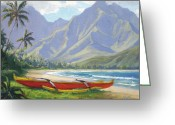 Hanalei Beach Greeting Cards - The Red Canoe Greeting Card by Jenifer Prince