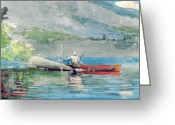 Watercolor On Paper Greeting Cards - The Red Canoe Greeting Card by Winslow Homer