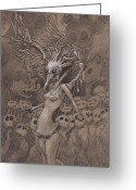 Surrealism Drawings Greeting Cards - The Red Carpet Greeting Card by Ethan Harris