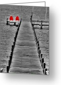 Beach Scenes Greeting Cards - The Red Chairs Greeting Card by Emily Stauring