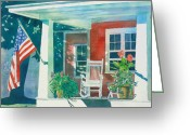 Michigan Greeting Cards - The Red Cottage Greeting Card by LeAnne Sowa
