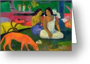 Rouge Greeting Cards - The Red Dog Greeting Card by Paul Gauguin