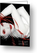 Selective Color Greeting Cards - The Red Facade - Self Portrait Greeting Card by Jaeda DeWalt
