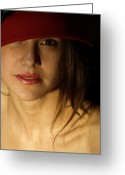 Portraits Photo Greeting Cards - The Red Hat Greeting Card by Steven  Digman