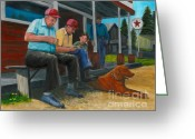 Woodworking Art Greeting Cards - The Red Hat Whittlers Greeting Card by Gail Finn