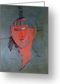 Modigliani Painting Greeting Cards - The Red Head Greeting Card by Amedeo Modigliani