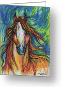 Equine Watercolor Portrait Greeting Cards - The Red Horse Greeting Card by Angel  Tarantella