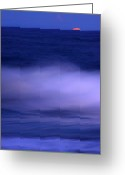 Decorativ Photo Greeting Cards - The Red Moon And The Sea Greeting Card by Hannes Cmarits