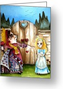 Alice In Wonderland Painting Greeting Cards - The Red Queen Greeting Card by Lucia Stewart