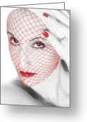 Bewitching Greeting Cards - The Red Realm - Self Portrait Greeting Card by Jaeda DeWalt