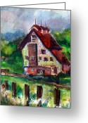 Gouache Mixed Media Greeting Cards - The Red Roof Barn Greeting Card by Mindy Newman