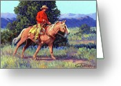 Four Corners Greeting Cards - The Red Shirt Greeting Card by Randy Follis